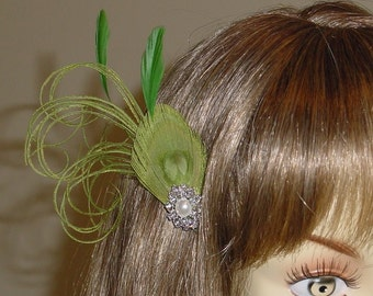SALE - Spring Green  Feather Fascinator Headpiece Ready to Ship