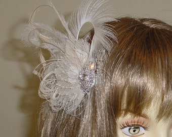 SAMPLE SALE Ivory Vanilla and Champagne Feather Fascinator Wedding Clip Headpiece Ready to Ship