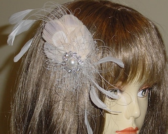 White, Ivory and Champagne Feather Fascinator Headpiece - Ready to Ship