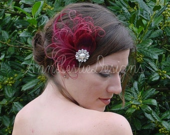 Shades of Burgundy Feather Fascinator Headpiece Bridesmaid Made to Order