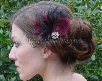 Burgundy and Black Feather Fascinator Headpiece Made to Order  Bridesmaid
