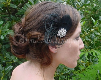 Black Feather Fascinator Made to Order  Goth Bride