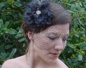 Black  Birdcage Veil with Organza Flower Fascinator Goth Bride Made to Order