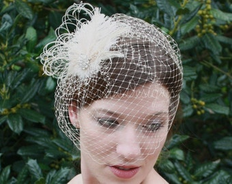Wedding Accessories Champagne Birdcage Veil with Ostrich Feather Fascinator Clip