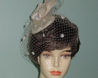 Wedding Bow Headpiece Cocktail Hat Birdcage Veil  French Veiling Champagne or Ivory Bridal Accessory