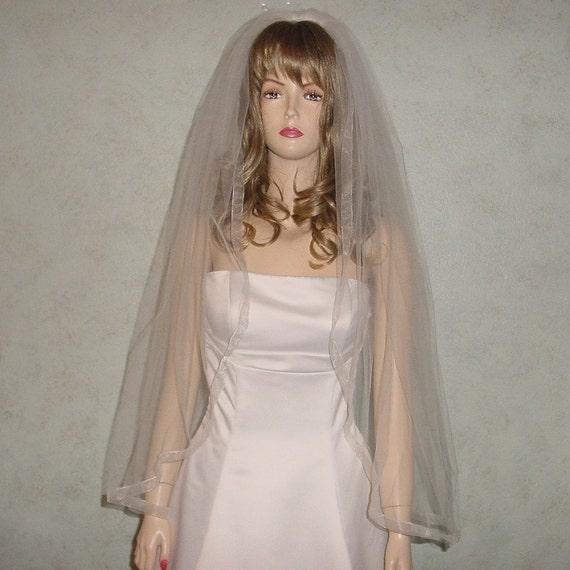Bridal Veil Organza Ribbon Edge  White, Diamond White, Ivory or Champagne Wedding Veil