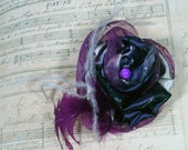 Organza Flower Brooch with Feathers - Purples and Grays