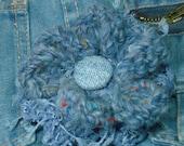 Fabric and Crochet Flower Brooch - Denim Blue w/ Blue Jean Button