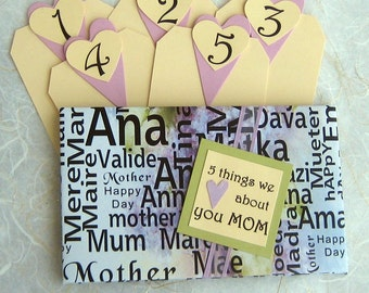 5 Things I Love About You Mom Tag Book - WORDS FOR MOTHER - Mother's Day or Birthday Gift Card