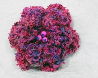 Hot Pink Crochet Flower Brooch - Pink Crochet Flower Pin