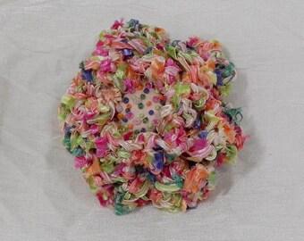Peach Crochet Flower Brooch - Crochet Peach Flower Pin