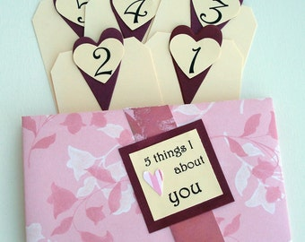 5 Things I Love About You Tag Book - Pink Floral