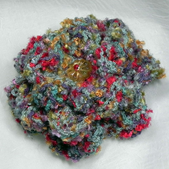 Crochet Flower Brooch - Victorian Shades of Red, Lavender, Blue and Gold