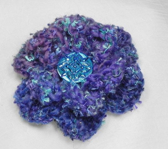 Crochet Flower Brooch - Purples and Blues with Czech Glass Button Center