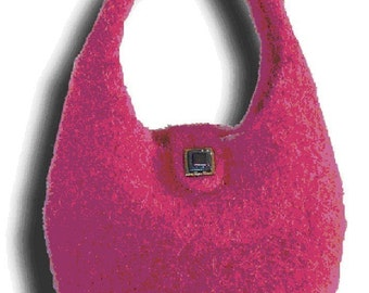 Pink Lady Hand Knit Felted Purse Pattern PDF