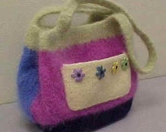 The Flower Power Felted Hand Knit Bag Pattern PDF