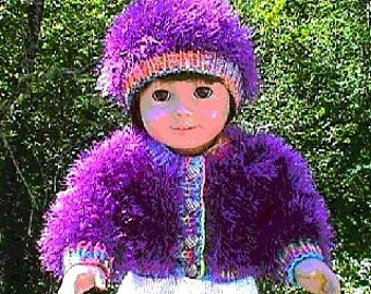 Knit PDF Pattern for American Girl Doll - Cardigan and Hat