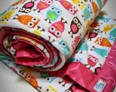 Owl Blanket - Minky Lap Blanket in Hoot Owl Retro Pink Chenille Made to Order - Made to Order