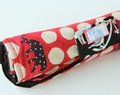 Changing Pad with Red and Linen Spots with Black Leopard Japanese fabric Made to Order