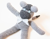 Sock Monkey Gray and Blue Stuffie Ready to Ship