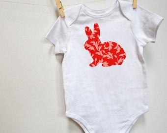Baby Bodysuit - Bunny Applique One Piece Bodysuit