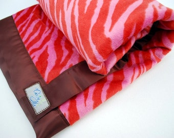 Zebra Baby Blanket - Pink Zebra Chocolate Swirl Minky Luxury Blanket by claireandjanae - Made to Order