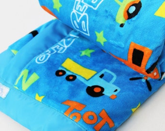 Blue Baby Blanket - Bright Blue Minky with Cars, Trucks and Planes - Made to Order