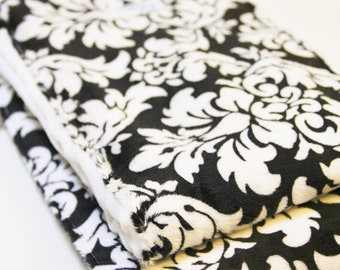 Black And White Damask Minky Absorbent Burp Cloth Set Unisex