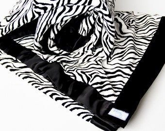 Zebra Print Minky Twin Blanket - Luxury Bedding - Made To Order