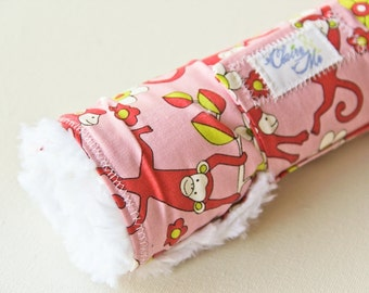 Baby Girl Changing Pad Roll up with Jungle Monkey Pink Fabric - Perfect for Children's Travel