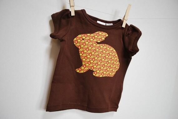 Brown Bunny Applique Shirt 18 months
