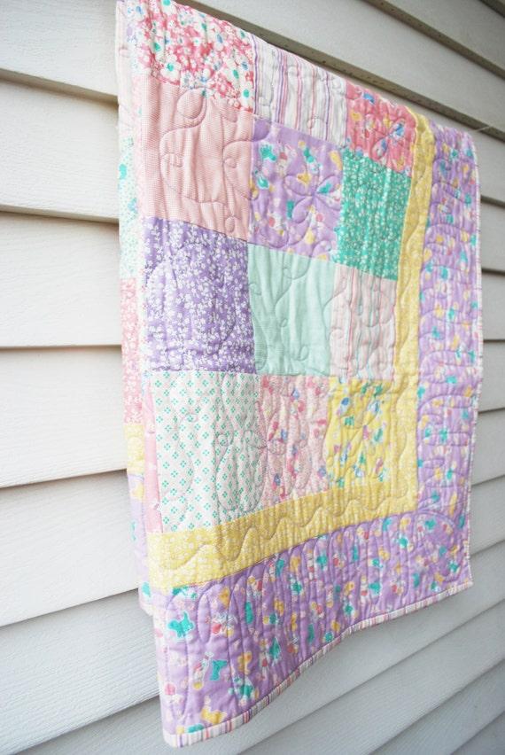 Baby Quilt.  Pastel Moda 1930's Reprint Baby Girl Fabric
