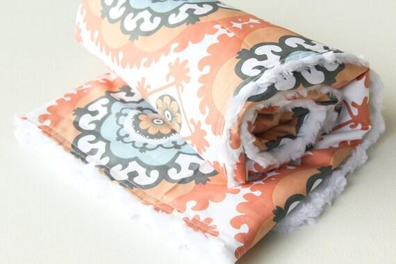 Peach Baby Blanket - Minky and Cotton Annette Tatum Boho Medallion Orange