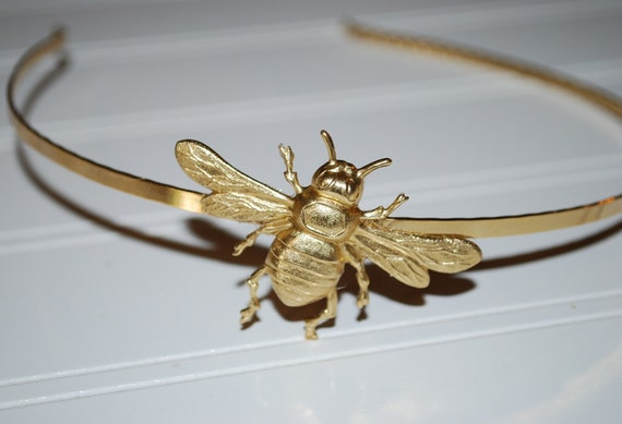 Whimsical Garden Golden Bumble Bee Headband Gold Plated