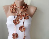 Handmade Crochet, Mix Autumn Color, Flower Lariat, Scarf, Necklace