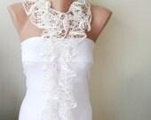 Dreamy Cream Color, Web Lace Handmade, Crochet Scarf