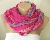 NEW 2012 Spring Model Pink tones and purple color Cotton Long Scarf with wrinkle