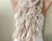 Beige Color Ruffle Scarf from %100 coton with pompom lace