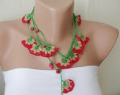 Red, green and light brown and red bead cloves Necklace, Lariat, Bracelet - Turkish lace Work-OOAK