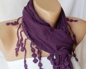 Lace Scarf - Purple Scarf - Plum purple - Cotton  Scarf