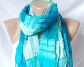 Turquoise Scarf . Silky Scarf . Cotton Scarf . Tassel Scarf . Hand Dyed