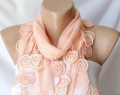 Lace Scarf, Cotton Scarf, Coral, light orange, Christmas Gift