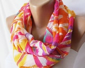 SALE-Infinity Scarf, Loop Scarf ..Pink and geometric....Chiffon... Scarf...Shapes