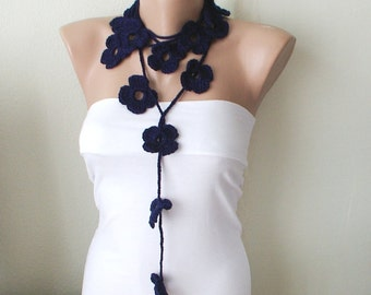SALE-Handmade Crochet Dark Blue  color Flower Lariat, Scarf, Necklace