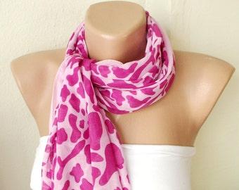 SALE-Lace Scarf - Scarf Shawl - Pink Scarf - Leopard Scarf - Cotton Scarf