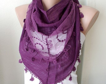 Plum Purple  Cotton Scarf with Pine flower Lace