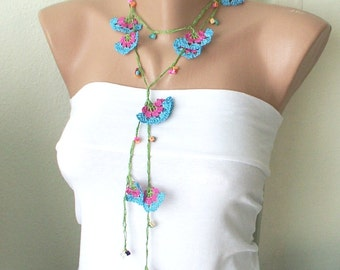 SALE-Eco friendly Blue, green and pink and red bead cloves Necklace, Lariat, Bracelet - Turkish lace Work-OOAK