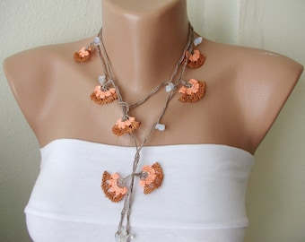 Orange and brown's and transparant bead cloves Necklace, Lariat, Bracelet - Turkish lace Work-OOAK