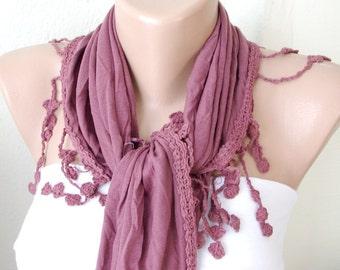 Purple Plum purple coton with lace scarf