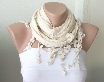 Lace Scarf - Cotton Scarf - Cream Scarf - Cowl Shawl